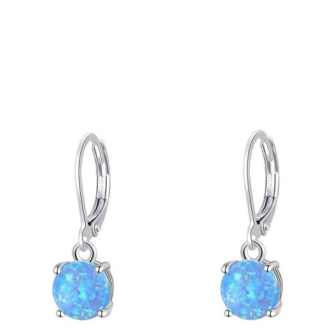 Liv Oliver Silver Plated Blue Opal Drop Earrings