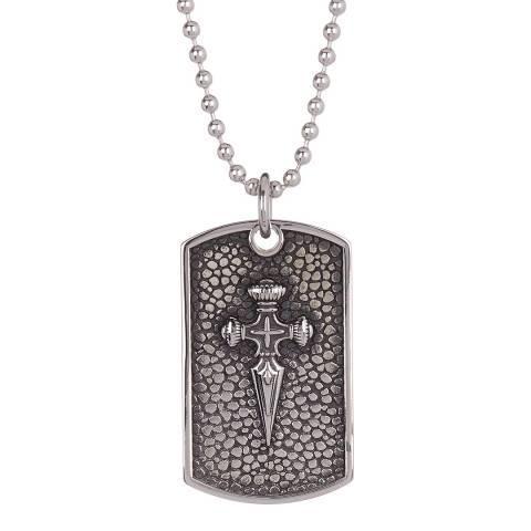 Stephen Oliver Textured Silver Plated Sword Dog Tag Necklace