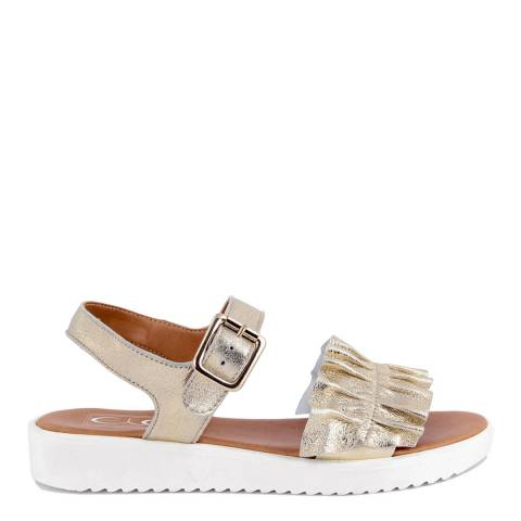 Eye Gold Leather Fringe Flat Sandal