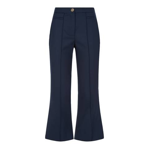 ALEXA CHUNG Navy Cropped Flare Trousers