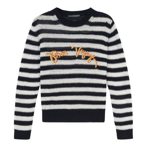 ALEXA CHUNG Black/White Striped Embroidered Jumper