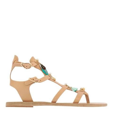 Ancient Greek Natural/Blue Leather Stephanie Sandals