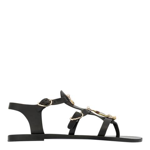 Ancient Greek Black Leather Grace Kelly Sandals
