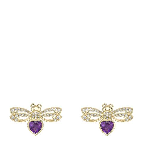 Theo Fennell 18ct Yellow Gold Amethyst Love Bug Earrings