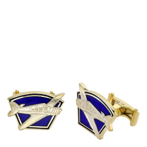 Theo Fennell 18ct Yellow Gold Blue Art Deco Aeroplane cufflinks