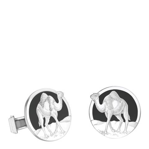 Theo Fennell 18ct White Gold Engraved Camel Disc Cufflinks