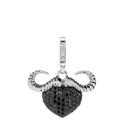 Theo Fennell 18ct White Gold Black Diamond Buffalo Small Pendant