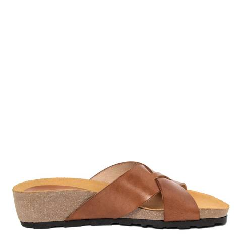 Piemme Tan Crossover Strap Sandal