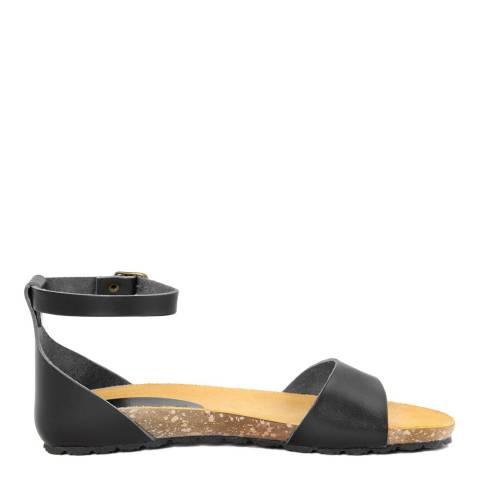 Piemme Black Ankle Strap Flat Sandal