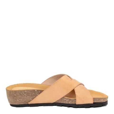 Piemme Beige Crossover Strap Sandal