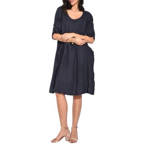 Le Jardin Du Lin Navy Mid Length Linen Dress