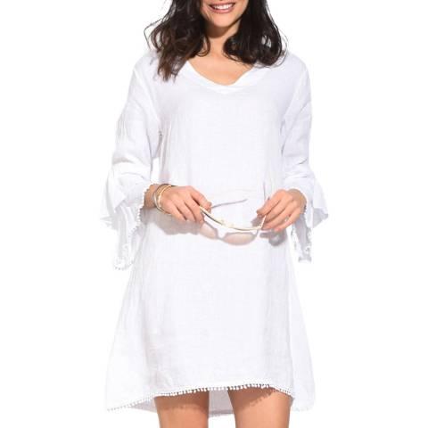 Le Jardin Du Lin White Ruffle Double Sleeve Linen Dress