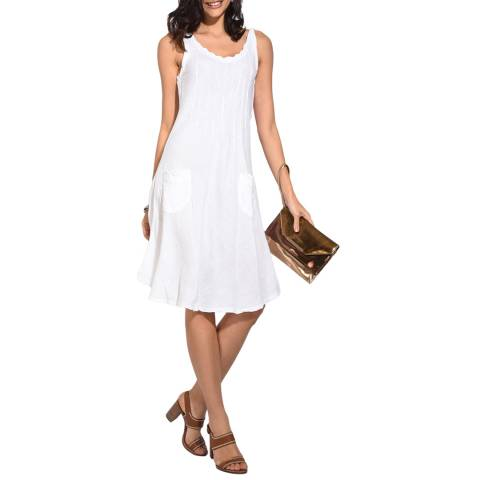 Le Jardin Du Lin White Front Pleat Linen Dress