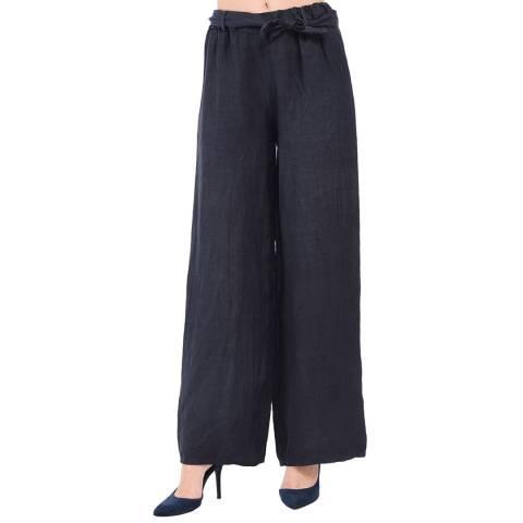 Le Jardin Du Lin Navy Fluid Straight Belt Linen Trousers