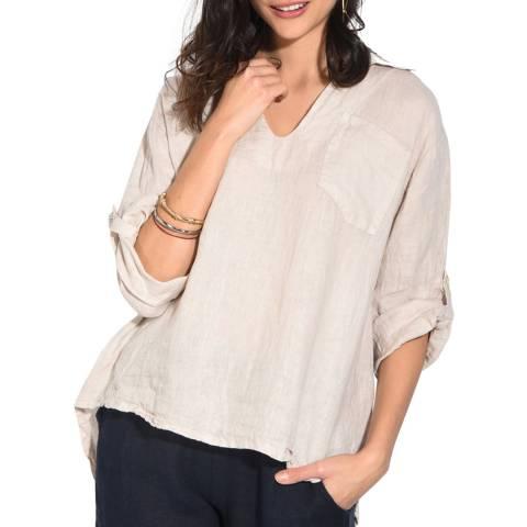 Le Jardin Du Lin Beige Open Collar Linen Shirt