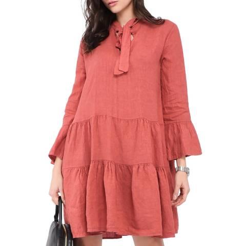 Le Jardin Du Lin Red Tie Neck Ruffle Linen Dress