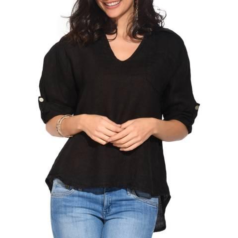 Le Jardin Du Lin Black Open Collar Linen Shirt