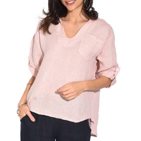 Le Jardin Du Lin Mauve Open Collar Linen Shirt