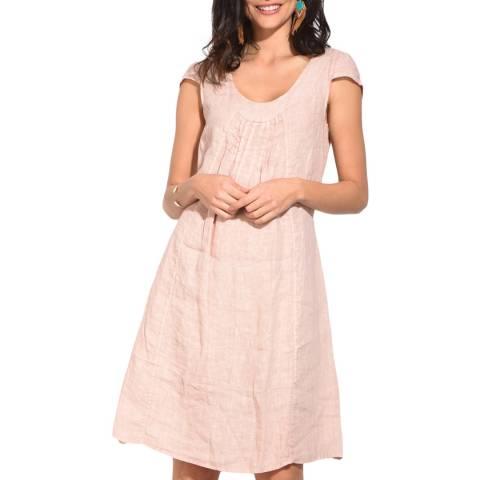 Le Jardin Du Lin Mauve Front Pleat Linen Dress