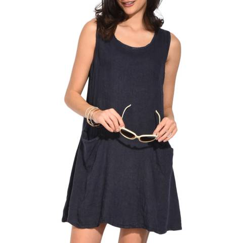 Le Jardin Du Lin Navy Pocket Linen Dress
