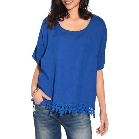 Le Jardin Du Lin Blue Lace Hem Linen Top