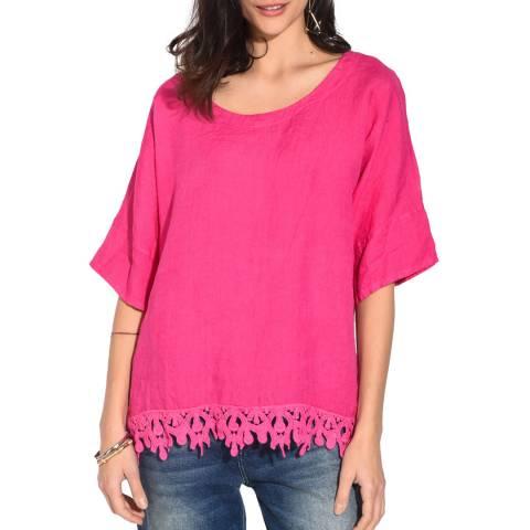 Le Jardin Du Lin Pink Lace Hem Linen Top