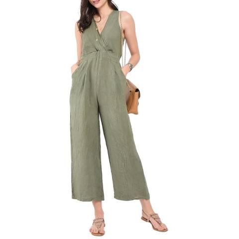 Le Jardin Du Lin Khaki Wide Leg Linen Jumpsuit