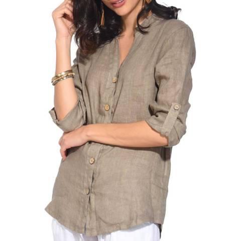 Le Jardin Du Lin Beige Linen Sleeveless Shirt