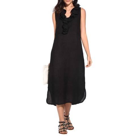 Le Jardin Du Lin Black Ruffle Linen Dress