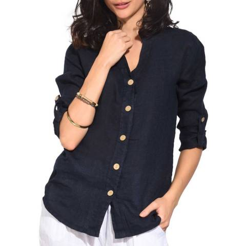 Le Jardin Du Lin Navy Linen Shirt