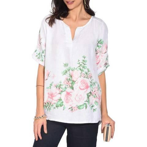 Le Jardin Du Lin White Floral Linen Top