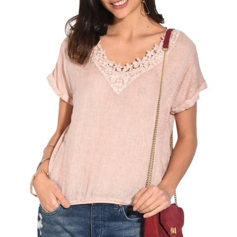 Le Jardin Du Lin Rose Lace V Neck Linen Top