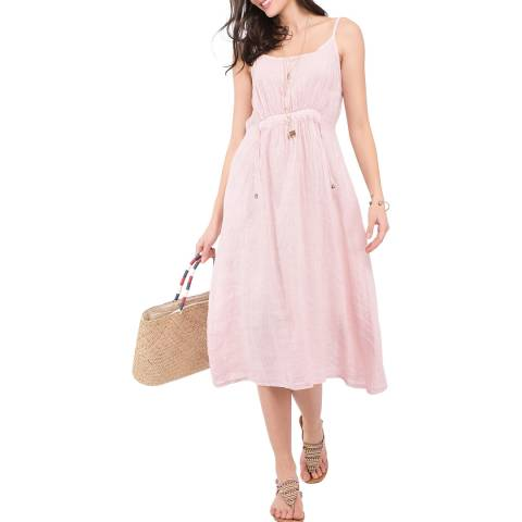 Le Jardin Du Lin Light Pink Blue Strap Linen Dress
