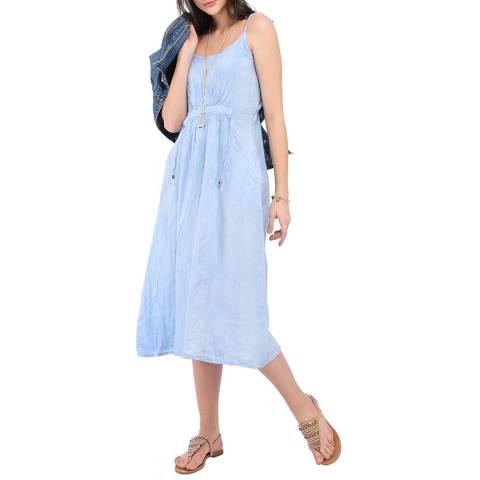 Le Jardin Du Lin Sky Blue Strap Linen Dress
