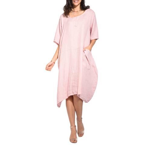 Le Jardin Du Lin Rose Trapeze Linen Dress