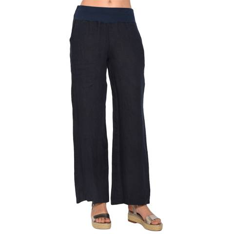 Le Jardin Du Lin Navy Fluid Straight Linen Trousers