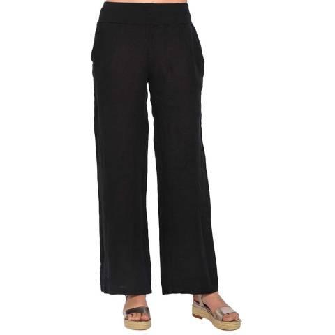 Le Jardin Du Lin Black Fluid Straight Linen Trousers