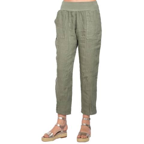 Le Jardin Du Lin Khaki Fluid Trousers