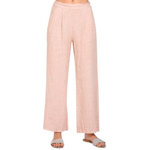 Le Jardin Du Lin Rose Straight Linen Trousers