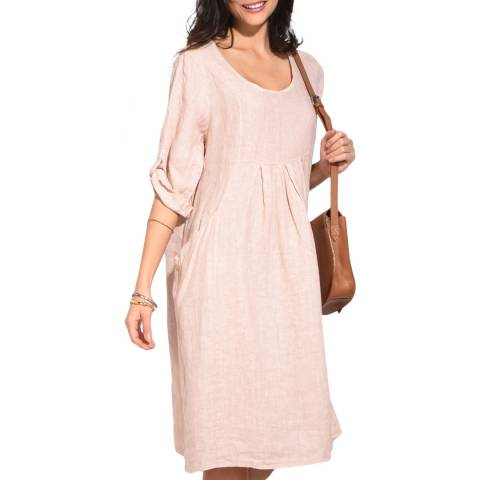 Le Jardin Du Lin Beige Mid Length Linen Dress