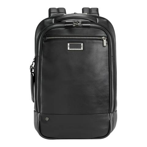 Briggs & Riley Black Leather Medium Backpack