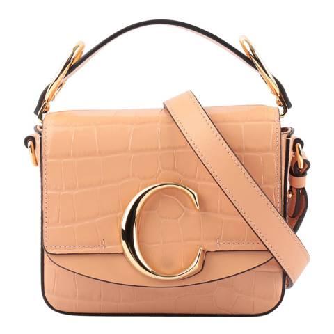 Chloe Milky Orange Croc Effect Mini C Handbag