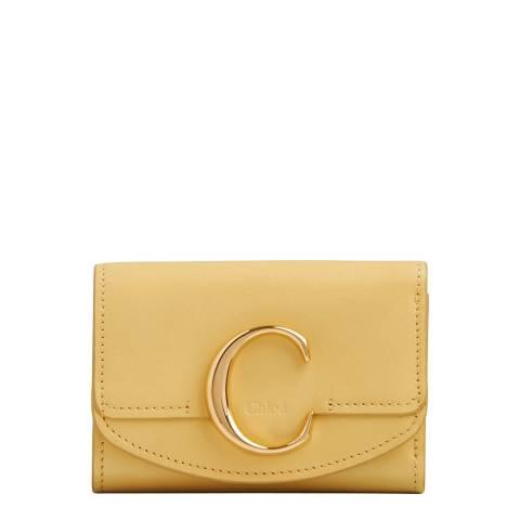 Chloe Honey Gold C Mini Trifold Wallet
