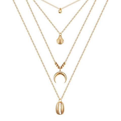 Liv Oliver 18K Gold Plated Multi Strand Beach Layer Necklace