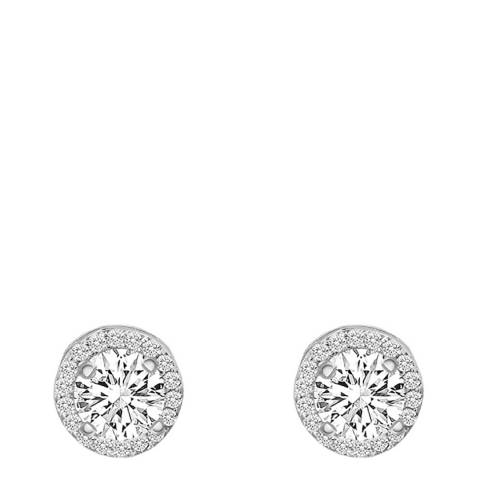 Liv Oliver Sterling Silver Plated Halo Cz Stud Earrings