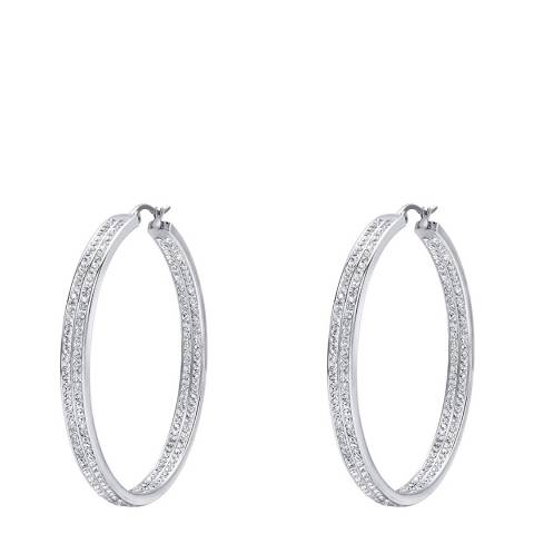 Liv Oliver Silver Plated Crystal Inside Out Double Row Hoop Earrings