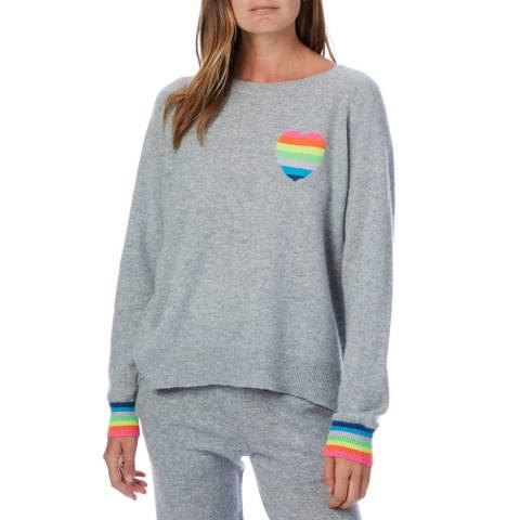 Scott & Scott London Grey Rainbow Heart Cashmere Sweatshirt