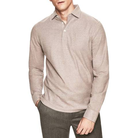 Hackett London Brown Mayfair Textured Long Sleeve Polo Shirt