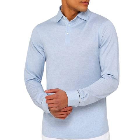 Hackett London Light Blue Mayfair Silk Blend Long Sleeve Polo Shirt