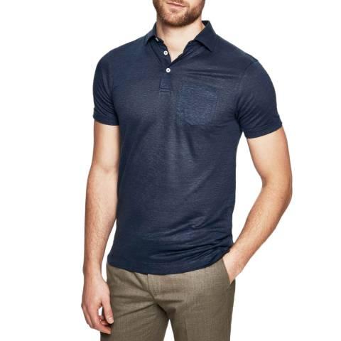 Hackett London Navy Linen Blend Slim Polo Shirt